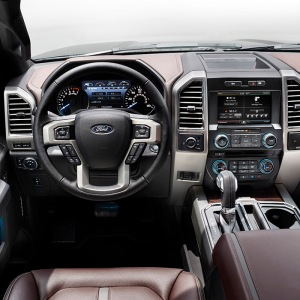 "2015 Ford F-150: The new 8-inch LCD productivity screen in the instrument panel of the all-new Ford F-150 includes updated truck apps --€"" from fuel economy to towing tips --€"" and the ability to create a customized home screen for customers to access their most frequently used apps in one place."